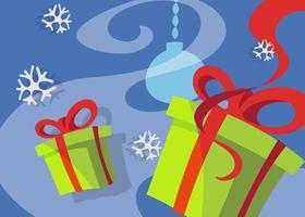 Banner with gift boxes. Christmas placard design in cartoon style. vector