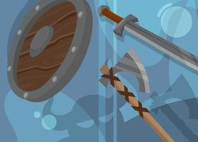 Viking banner with shield and weapons. vector