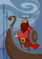 Viking poster with warrior on ship. vector
