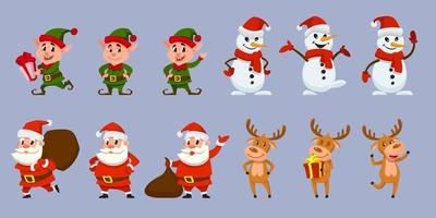 Big set of Christmas characters in different poses. vector