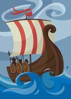 Viking poster with drakkar. Scandinavian placard design. vector