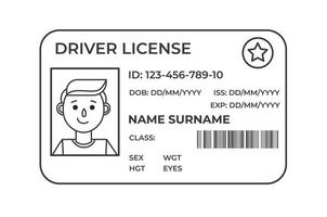 Drivers License. A plastic identity card. Vector outline
