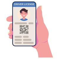 Driving license on the cell phone screen. Mobile app vector
