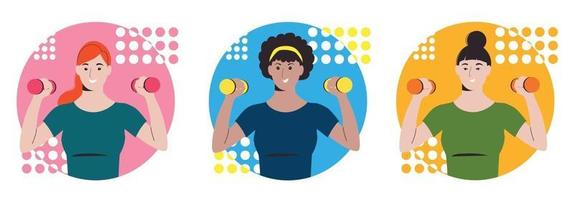 Girls go in for sports with dumbbells. Workout at home. Fitness vector