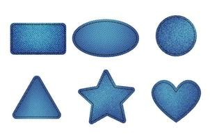 Set of blue denim patches with stitch. Light blue denim vector