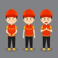 Pizza Delivery Character with Various Expression vector