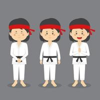 Karate Character with Various Expression vector