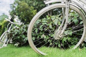 Bicicleta blanca en el fondo del jardín foto