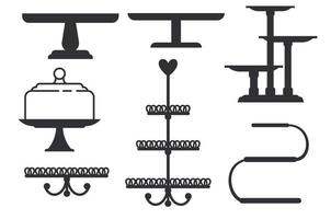 Set of cake stands in flat icon style. trays for fruit and dessert vector