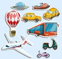 Vector image of transport stickers in cartoon style
