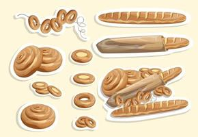 Vector image of stickers of white bread and other flour products