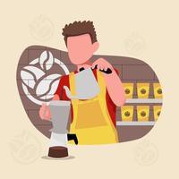 barista make a coffe for customer vector