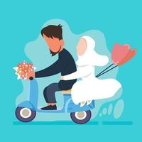 just married couple with scooter and baloon vector