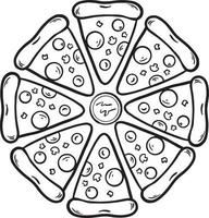 Black and White pizza slice hand drawn doodle illustration vector