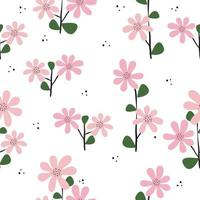 Seamless hand drawn pink floral pattern background vector