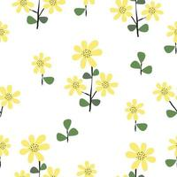Seamless cute fresh yellow floral pattern background vector