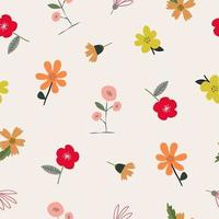 Seamless cute colorful floral pattern background vector