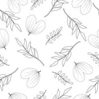 Seamless hand drawn leaves line pattern in black and white background vector