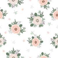 Cute elegant vintage flowers seamless pattern background vector