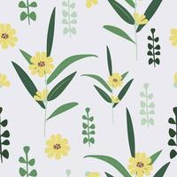 Cute vintage  yellow flower pattern seamless background vector
