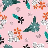 Cute vintage hand drawn flower pattern  seamless background vector