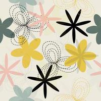 Seamless hand drawn pastel floral pattern background vector