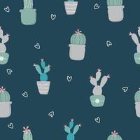 Seamless hand drawn cactus pattern background vector