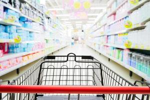 Shopping trolley in supermarket with blured supermarket photo