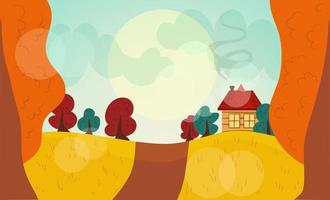 Autumn landscape. Orange, red and green trees, house with stove vector