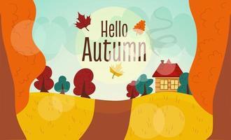 Autumn landscape with the inscription hello autumn. vector