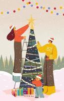 Family Decorating Christmas Tree vector
