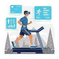 Virtual Running with Treadmill Concept vector