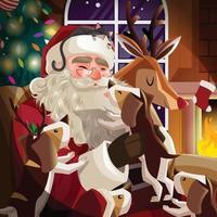 Santa Claus and Pets in Santa Paws Concept vector