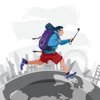 Happy Tourist Travelling Around The World Concept vector
