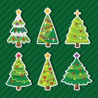 Christmas Tree Sticker Collection vector