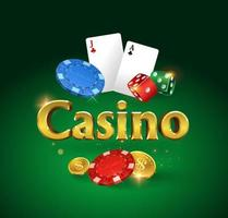 Casino logo on a green background. Dice, coins, chips vector