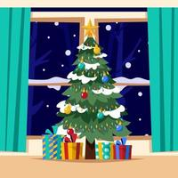 Christmas Tree and Christmas Gifts Underneath vector