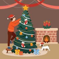 Man Decorating Christmas Tree Accompanied by His Dog vector