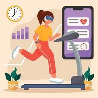 corriendo virtual en casa vector