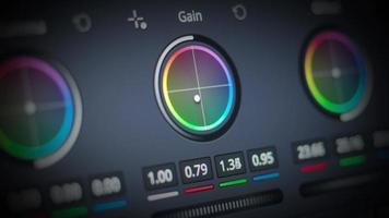 Color grading control edit on monitor. Showing adjust color. video