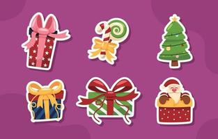 Christmas Gift Sticker Collection vector