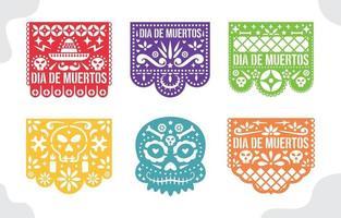 Papel Picado Mexican Paper Crafts Collection vector