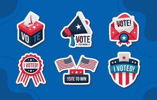 Colección de insignias y pegatinas de votación. vector