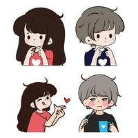 A collection of cute girl and boy illustration vector bundle