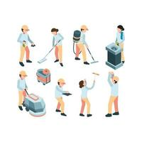 isometric Industrial cleaning service workers equipment remove carpet vector