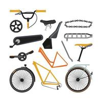 Constructor of different bicycle parts and equipment vector