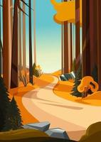 Road in autumn forest. Nature landscape in vertical orientation. vector