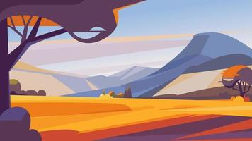 Autumn landscape with mountains. vector