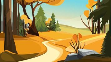 Autumn forest with different trees. Beautiful nature landscape. vector