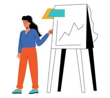 A woman makes a report on analytics. Business analytics vector